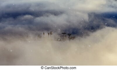 Winter snow landscape. hills with many pine trees covered by...