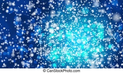 Falling snow on a blue