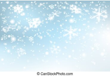 Falling snow on a light blue background.