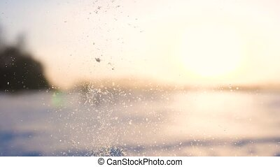 Falling snow on a Sunny background.