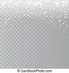 Falling snow on a transparent background. Abstract white glitter snowflake
