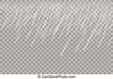 Falling snow on a transparent background. Falling water drops texture.