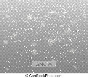 Falling snow on a transparent background. Vector illustration 10 EPS. Abstract snowflake background.