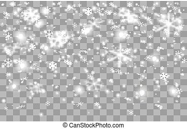 Falling snow on a transparent background.