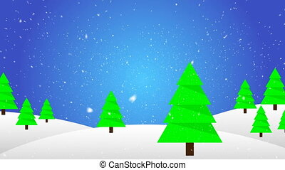falling snow on the background of Christmas trees in flat design