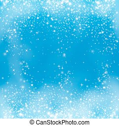 Falling snow on the blue background. Snowflake