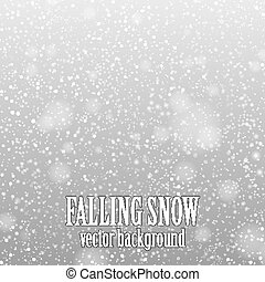 falling snow on the gray - vector image
