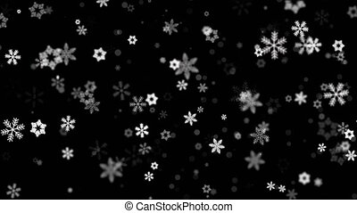Falling Snow With Transparency Alpha Looped Animation Background.