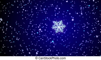 Falling snowflake on a snowfall background