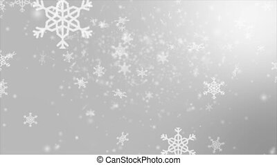 Falling snowflake over gray abstract background for winter promotion and christmas celebration