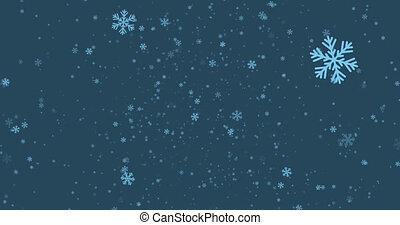 Falling snowflakes 4k loop animation.