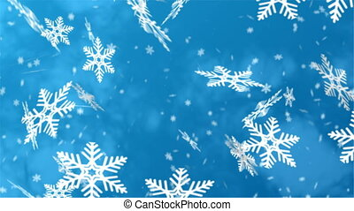 falling snowflakes close up