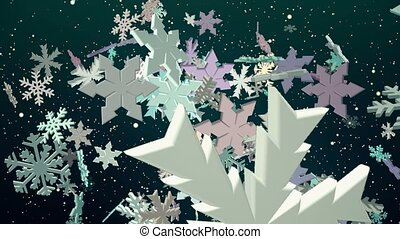 Falling snowflakes in various color