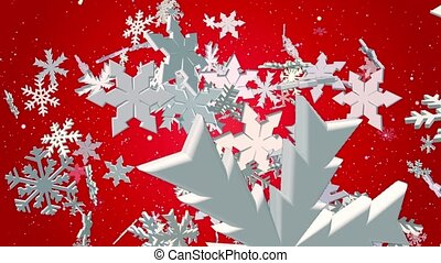 Falling snowflakes in white on red