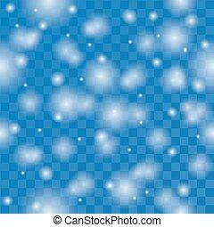 Falling snowflakes on blue seamless