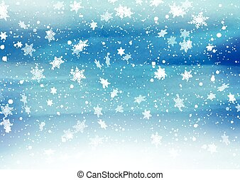 falling snowflakes on painted background 2811 - Christmas...