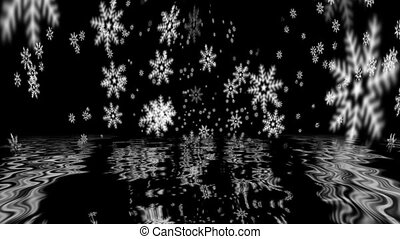 Falling snowflakes reflecting in water