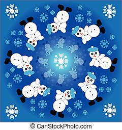 Falling snowman with snowflakes in ring on blue  background. Vector illustration.