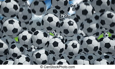 Falling soccer balls - Lot of soccer balls falling on the...