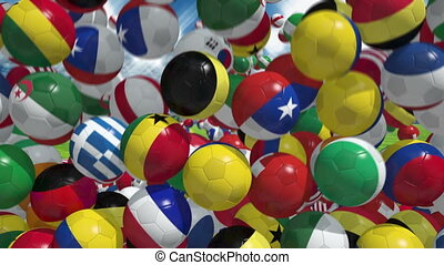 Falling soccer balls with flags of national teams
