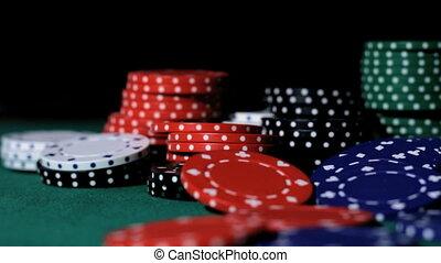 falling., späne, poker.