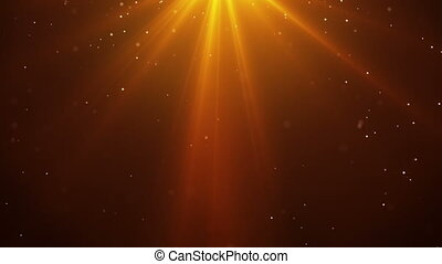 falling sparkling particles and rays of orange light loopable