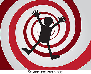 Falling Spiral - Figure falling down red spiral