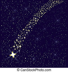 Falling Star. - A falling star in the night sky