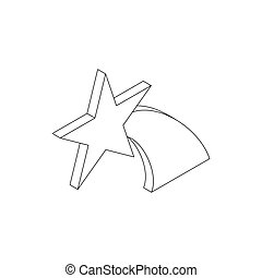 Falling star icon, isometric 3d style