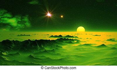 Falling star (UFO) in the Sky Alien Planet