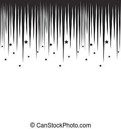 Falling stars horizontal black border. Repeatable background...