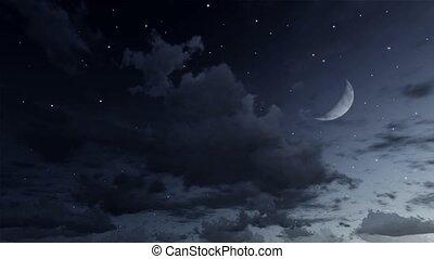 Falling stars in night sky cinemagraph loop 4K