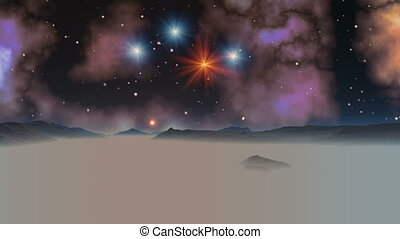 Falling Stars (UFO) Against The Background Of The Nebula