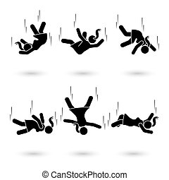 Falling stick figure pictogram