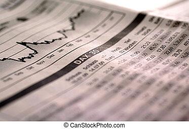 Falling stock index DAX in German newspaper