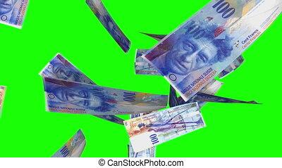 Falling Swiss Francs Loop on Green - alling 100 CHF bills....