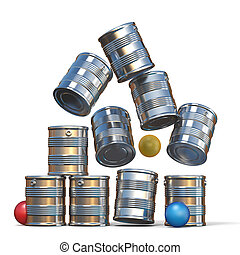 Falling tin cans and three balls 3D illustration isolated on...
