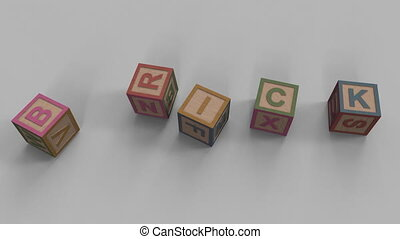 Falling toy bricks make up different words: brick, child, cubes, games, minor
