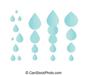 Falling water icon. Clean droplet logo template. Simple flat...