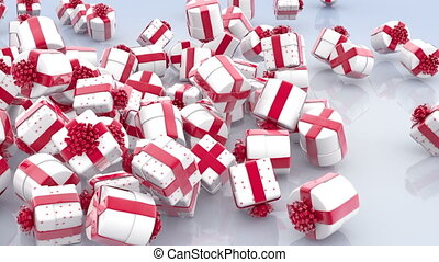 Falling white Christmas gift boxes with red bows
