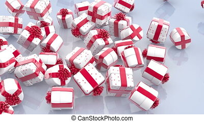 Falling white Christmas gift boxes with red bows and ribbons