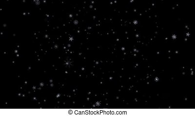 Falling white patterned snowflakes on black background HD 1920x1080