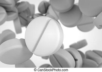 Falling white pills. - Round white pills falling down.