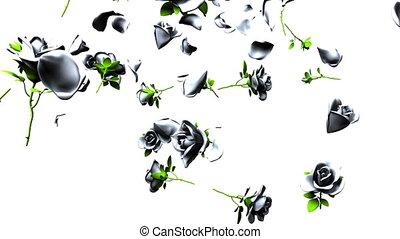 Falling White Roses On White Background. 3DCG render...