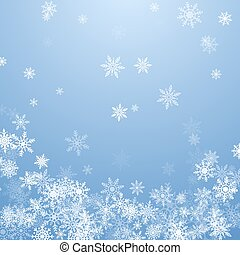 Falling white snowflakes on blue background. Blue Christmas snowflakes background. Vector illustration
