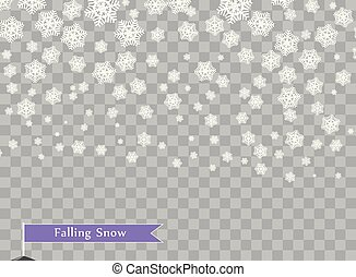 Falling white snowflakes on transparent dark background. Overlay design element. Winter decoration for new year and Christmas holidays. Vector illustration.
