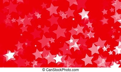 Falling white stars on red