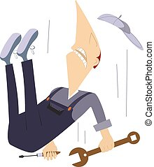 Falling worker - Comic worker is falling down from high...