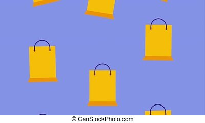 falling yellow shopping paper bags icon vector ilustration