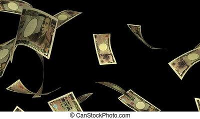 Falling Yen (Loop - Matte) - Falling Japanese Yen bills...